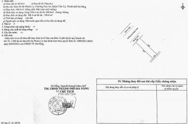 Bán ĐẤT KĐT Phước Lý GĐ1 2013, đường 7,5m, Đà Nẵng